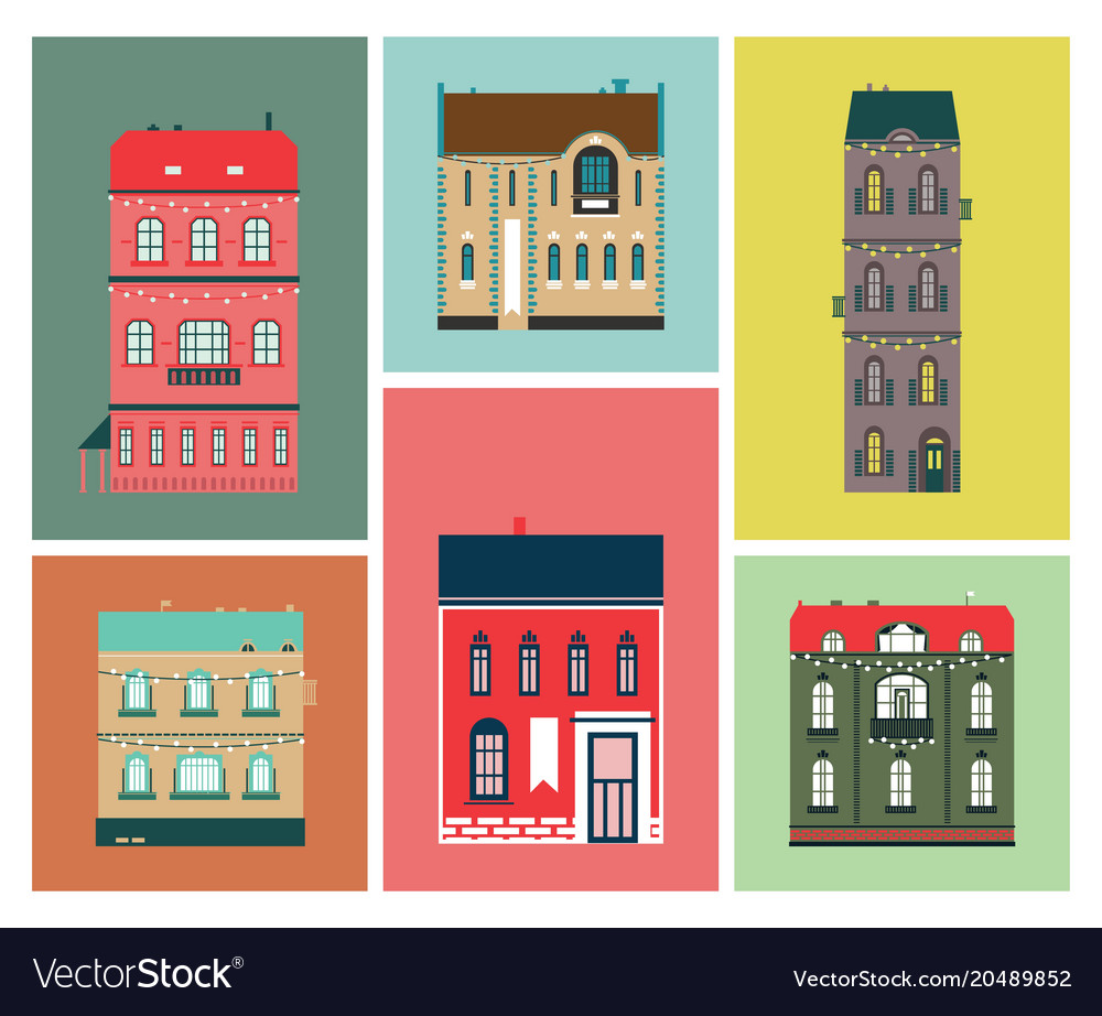 Flat design urban landscape set of buildings vector image