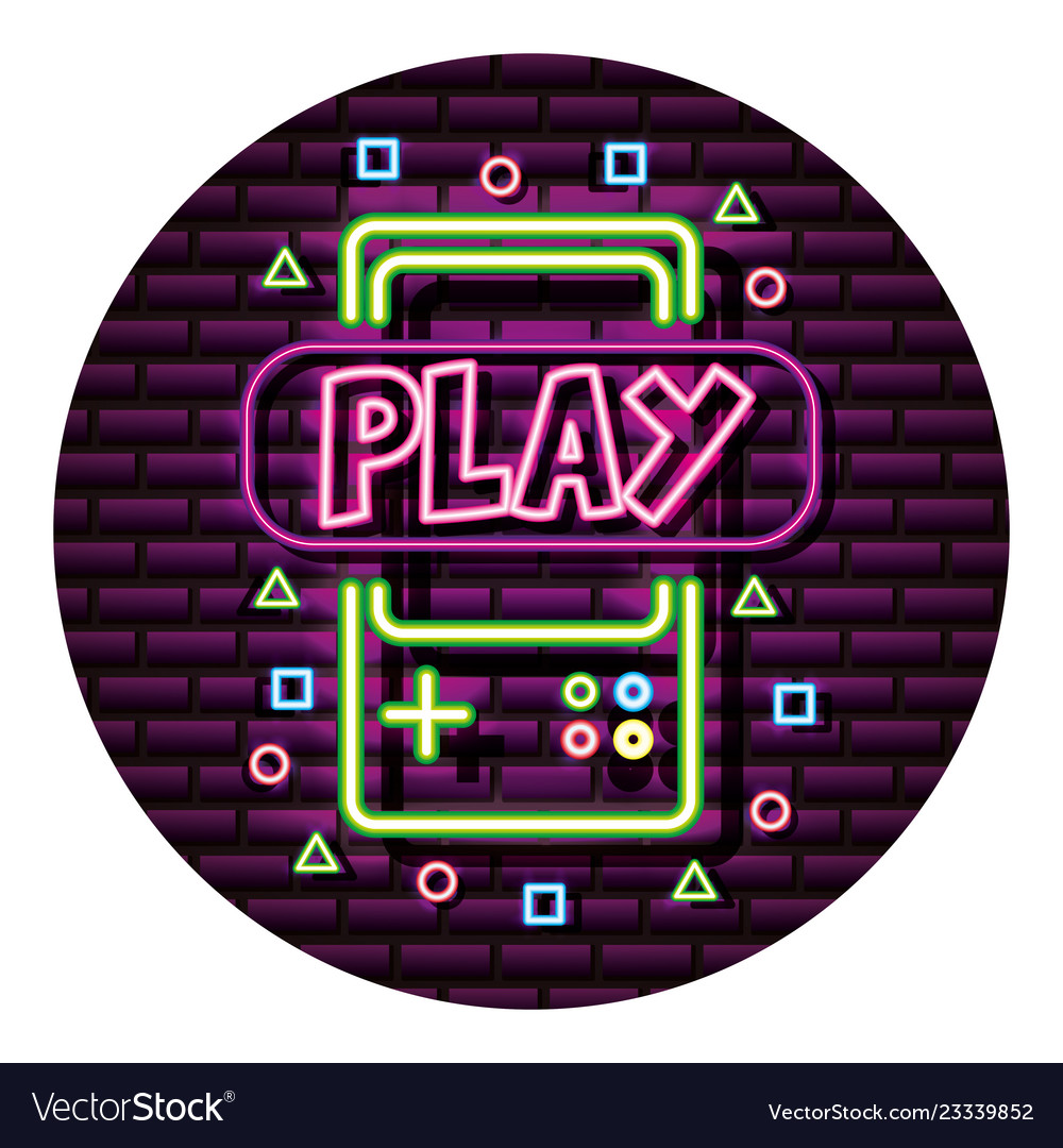 Gamepad play neon video game wall
