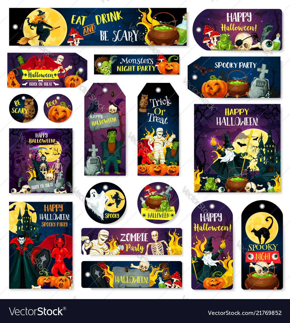 Halloween trcik or treat party tags