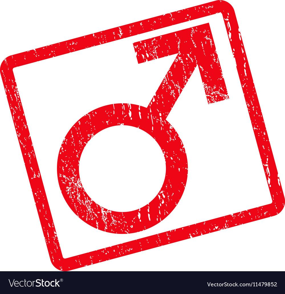 Male Symbol Icon Rubber Stamp