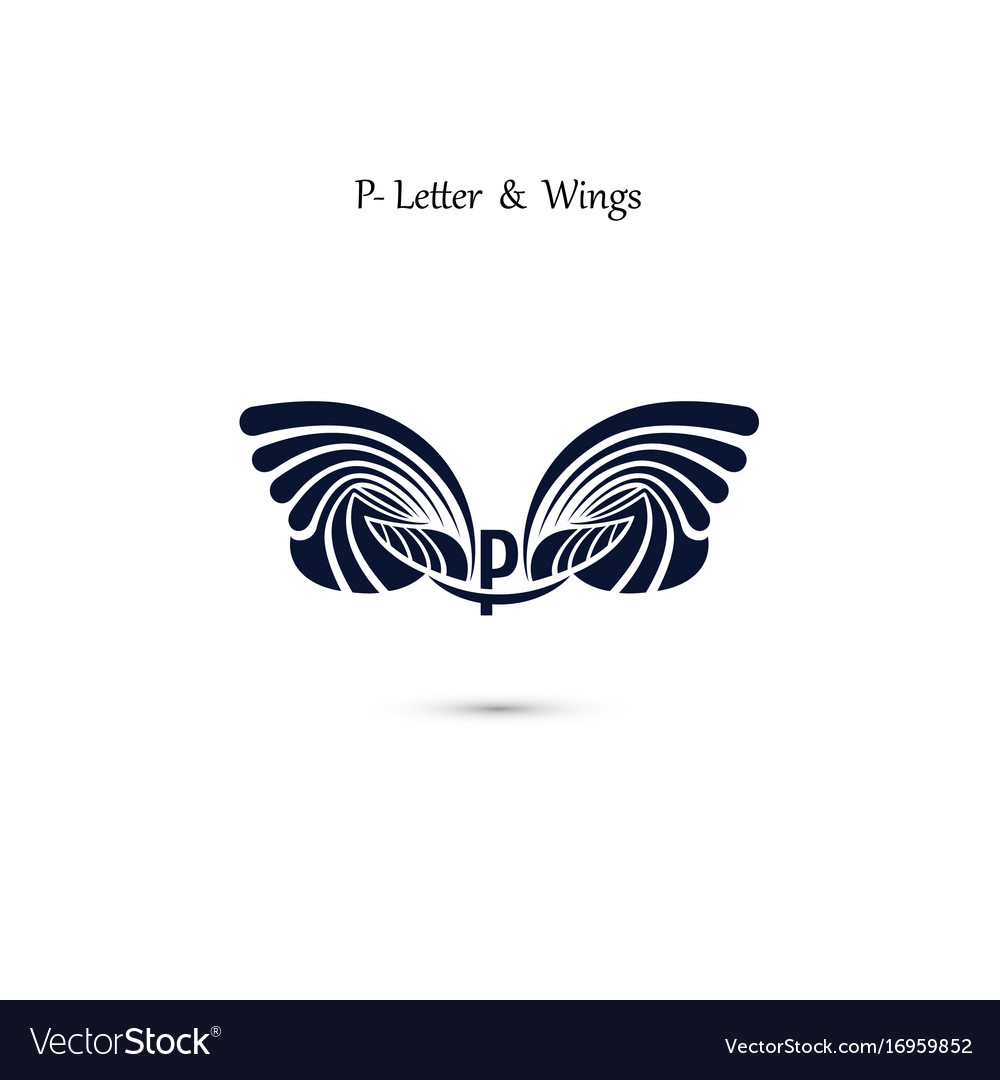 P letter sign and angel wings monogram wing logo