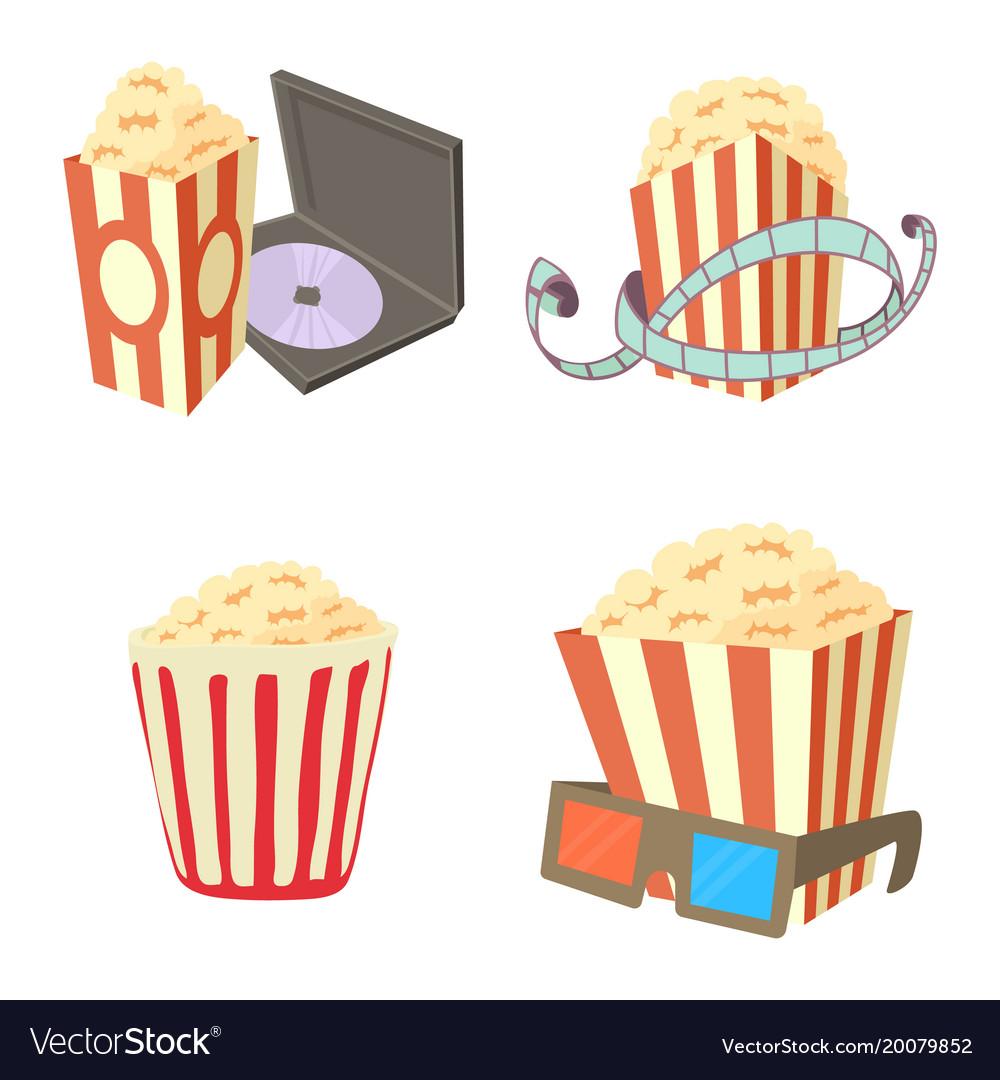 Popcorn icon set cartoon style