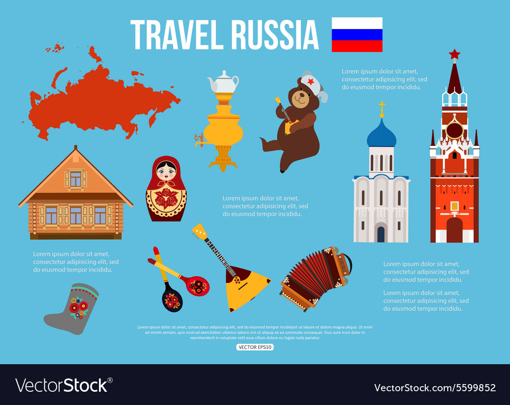 Russia travel background with place for text Set