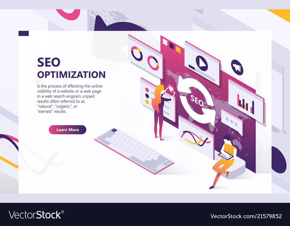 Seo optimization isometric concept banner