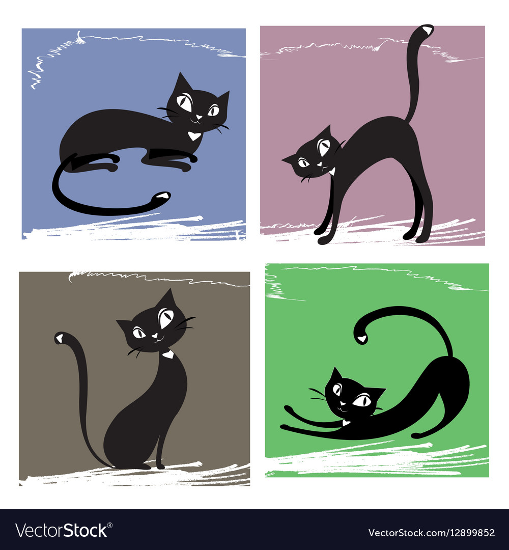 Set of black cats vector image