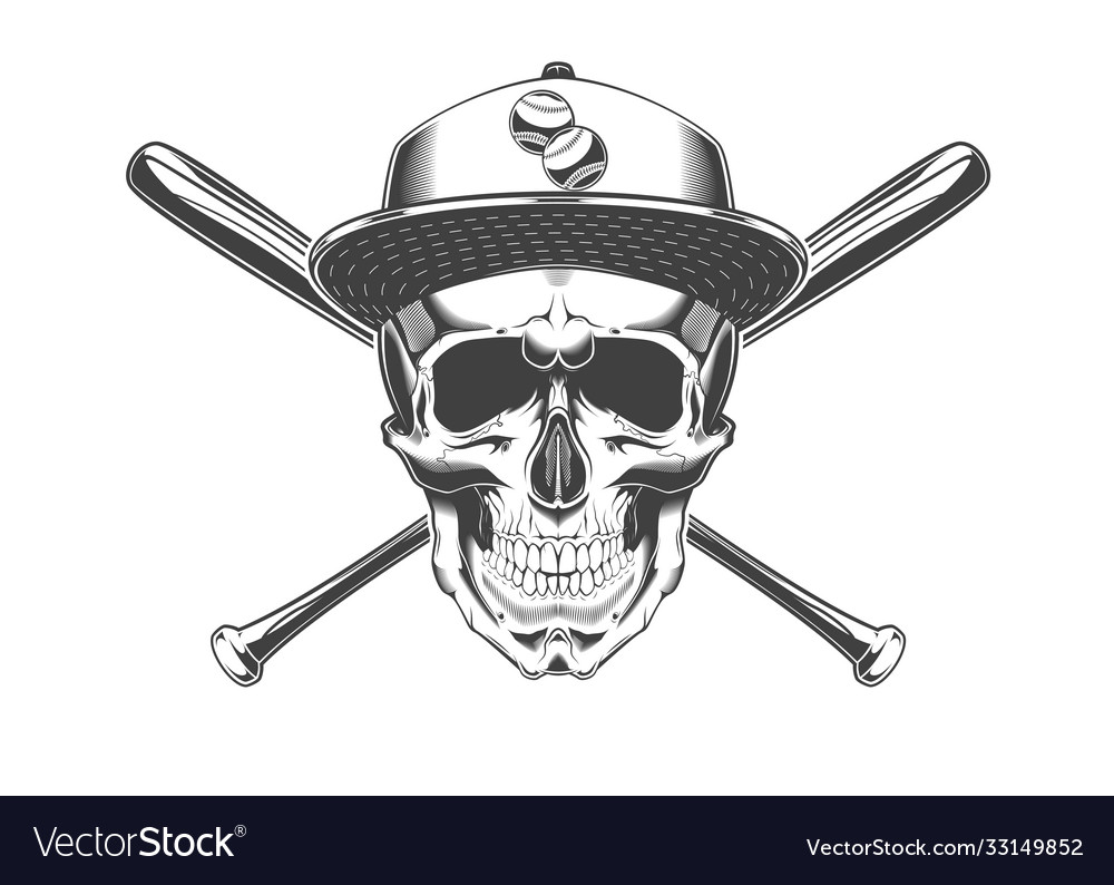 Vintage monochrome skull with baseball cap and