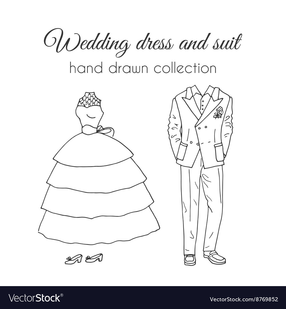 Wedding dress and suit Sketchy style