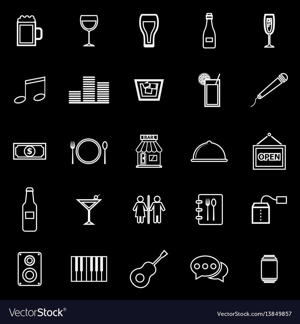 Bar line icons on black background