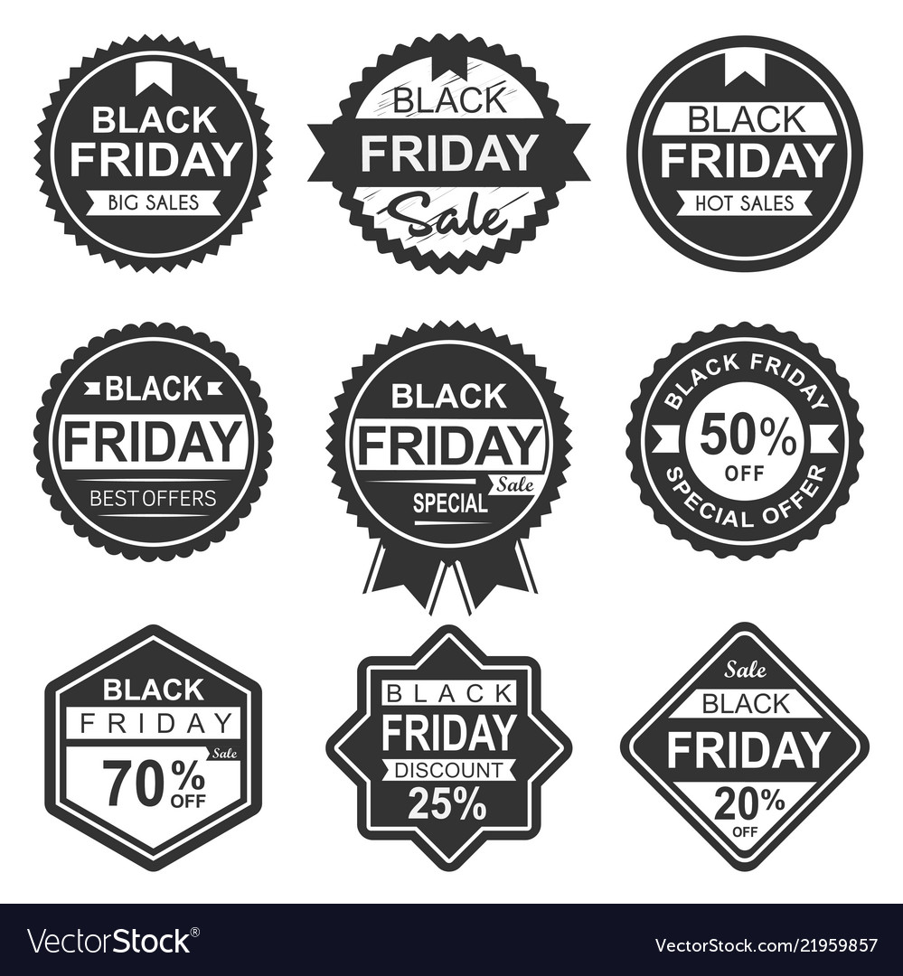 Black friday sale labels silhouette