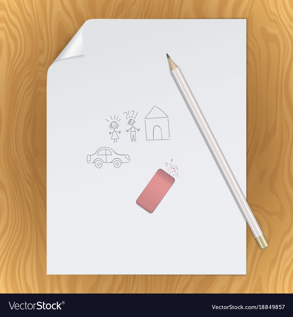 Blank paper page pencil eraser picture template