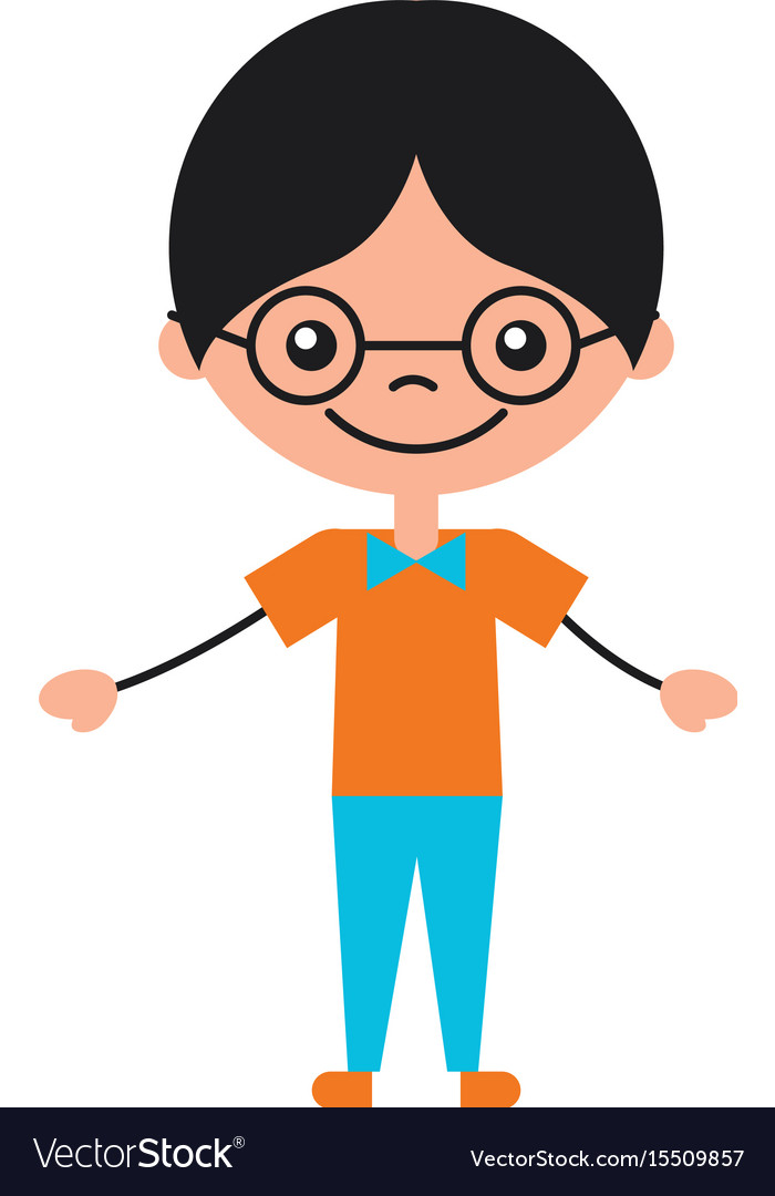Cute Boy With Glasses Character Icon Royalty Free Vector