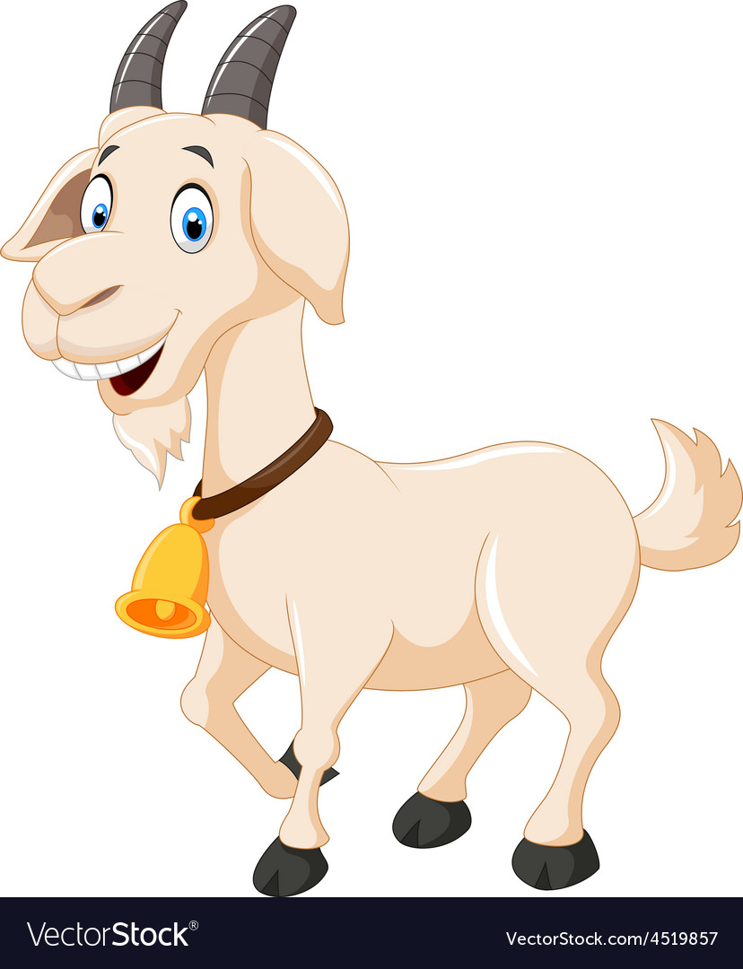 cute cartoon goat royalty free vector image vectorstock rh vectorstock com cartoon goat images cartoon goat pictures free