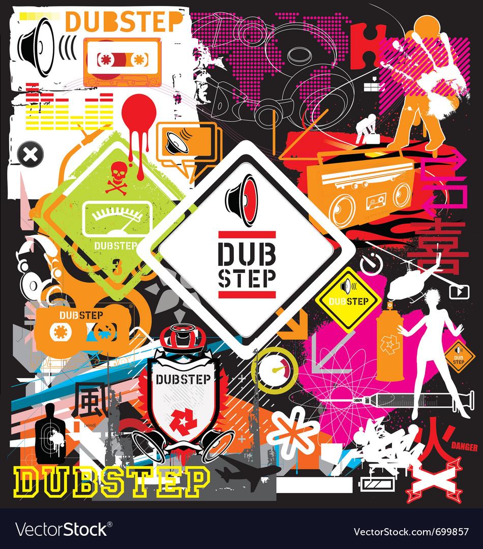 Dubstep flyer design elements vector image