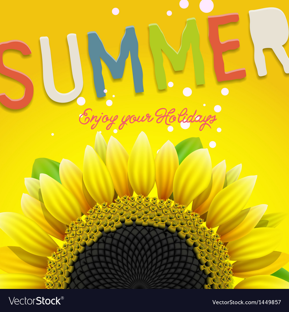 Floral summer background with sunflower vector image