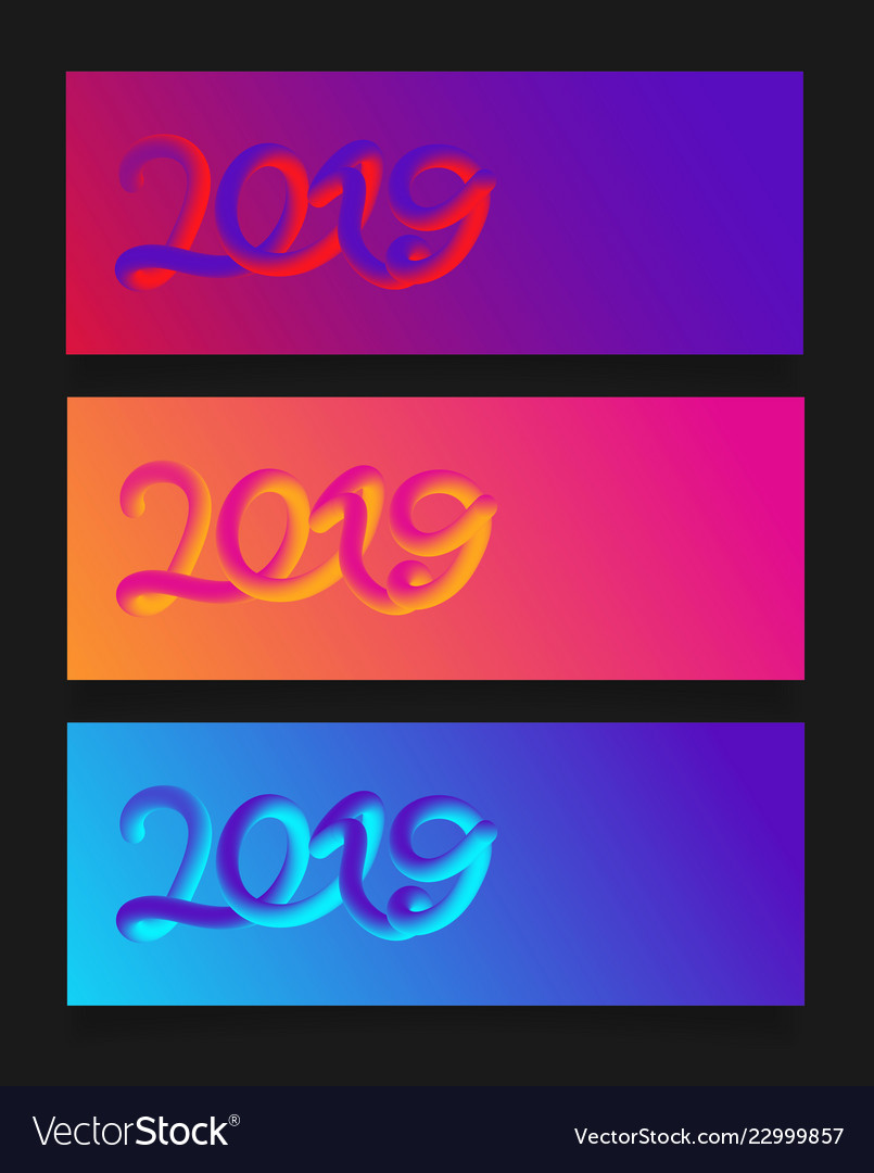 Happy new year 2019 card with colorful neon