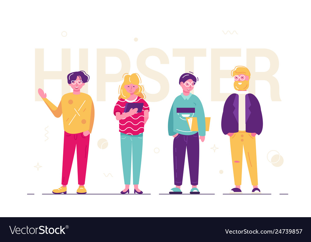 Hipster people standing together