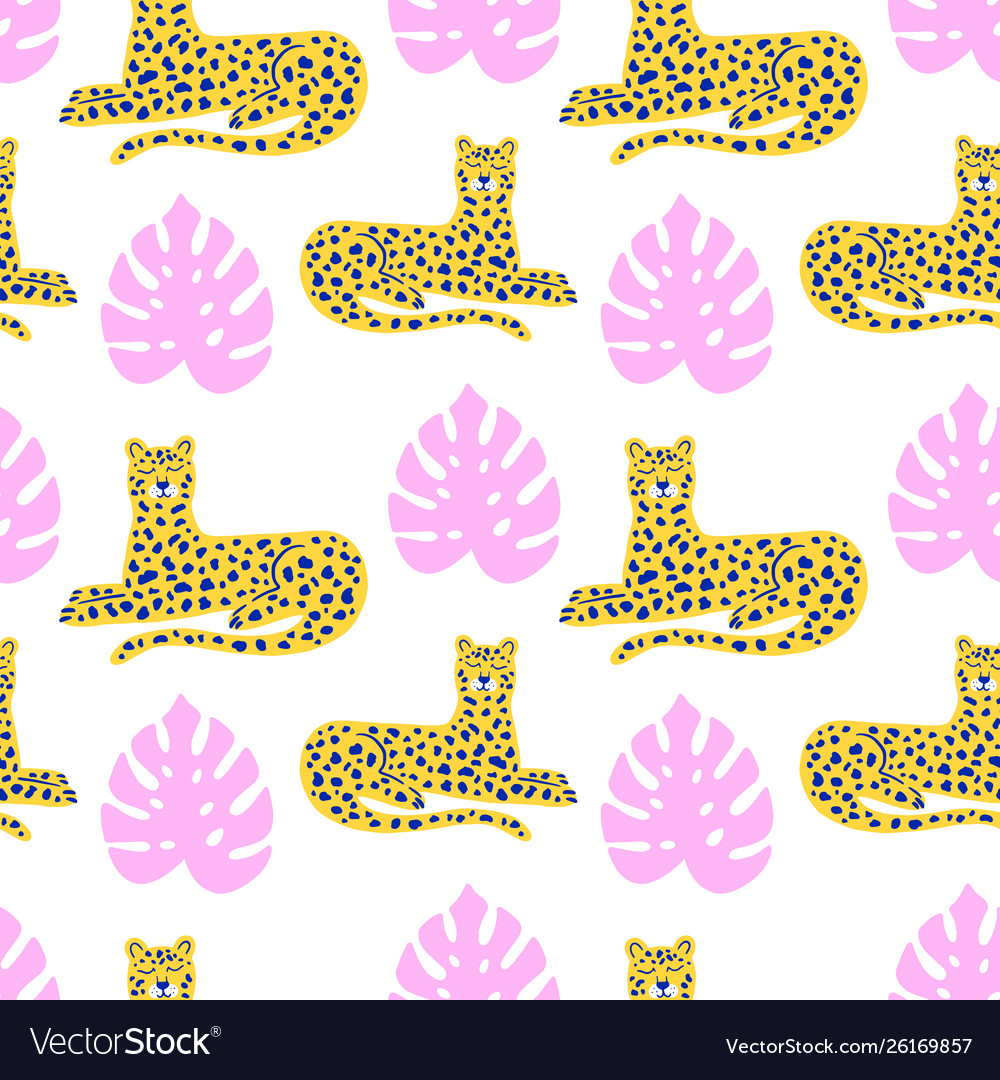 Leopard and tropical leaves animal pattern
