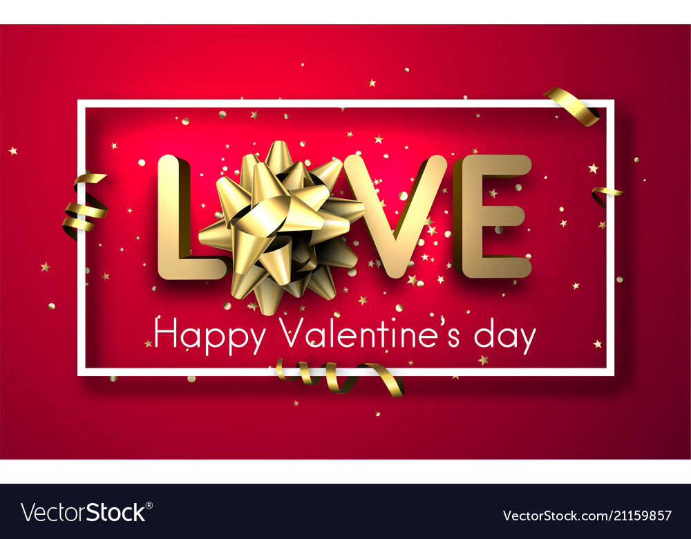 Love valentine s card with bow and serpentine