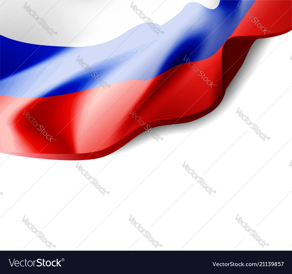 Waving flag of russia close-up with shadow