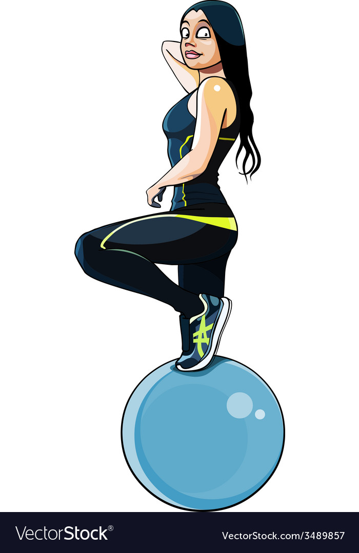 Woman in fitness clothing with a large ball vector image
