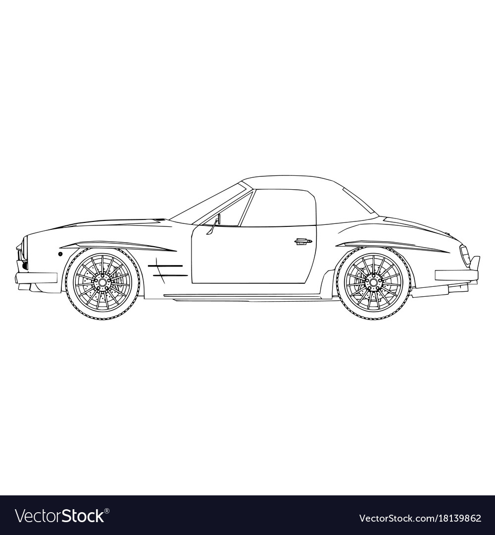 Car icon outline silhouette auto symbol isolated vector image