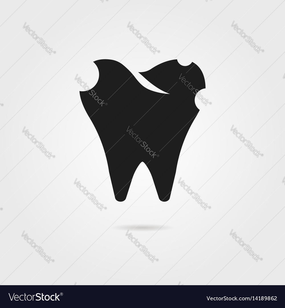 Dental caries with black tooth icon