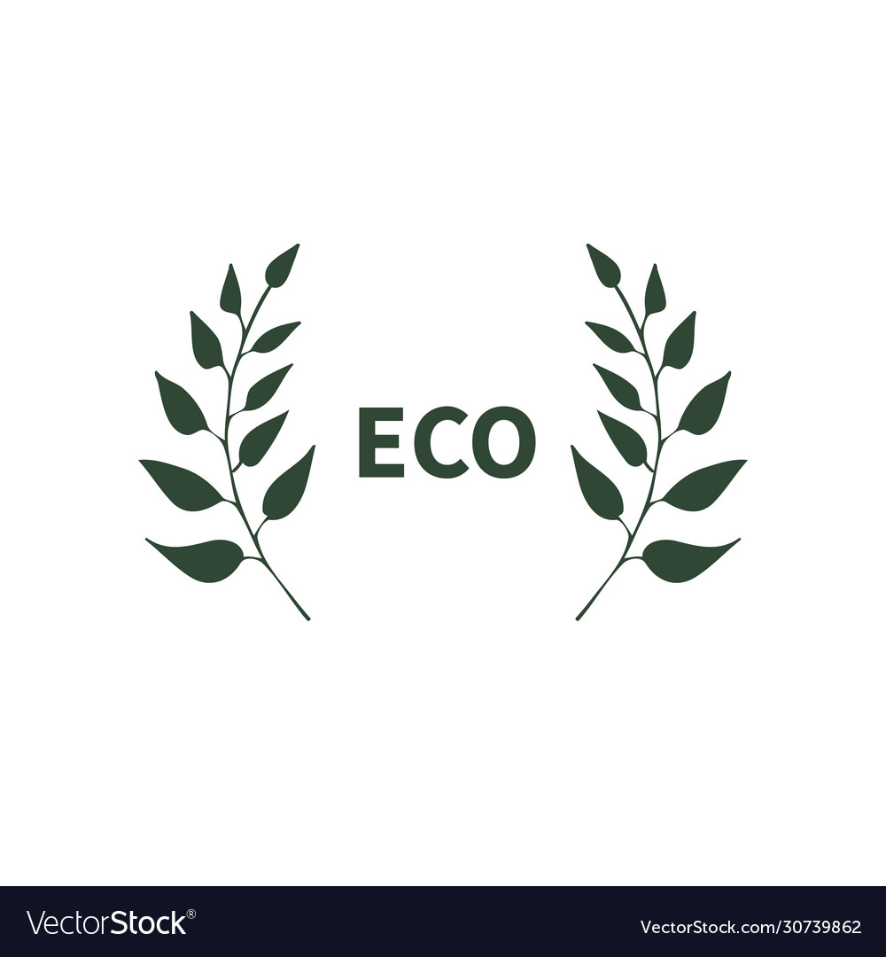 Eco banner with two branches symbol logo emblem