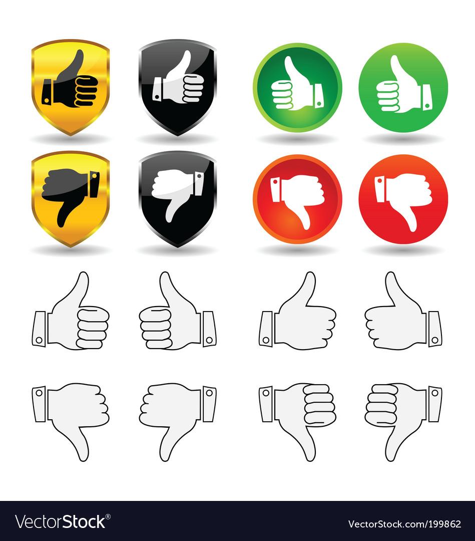 Hand gesture set 1 thumbs vector image