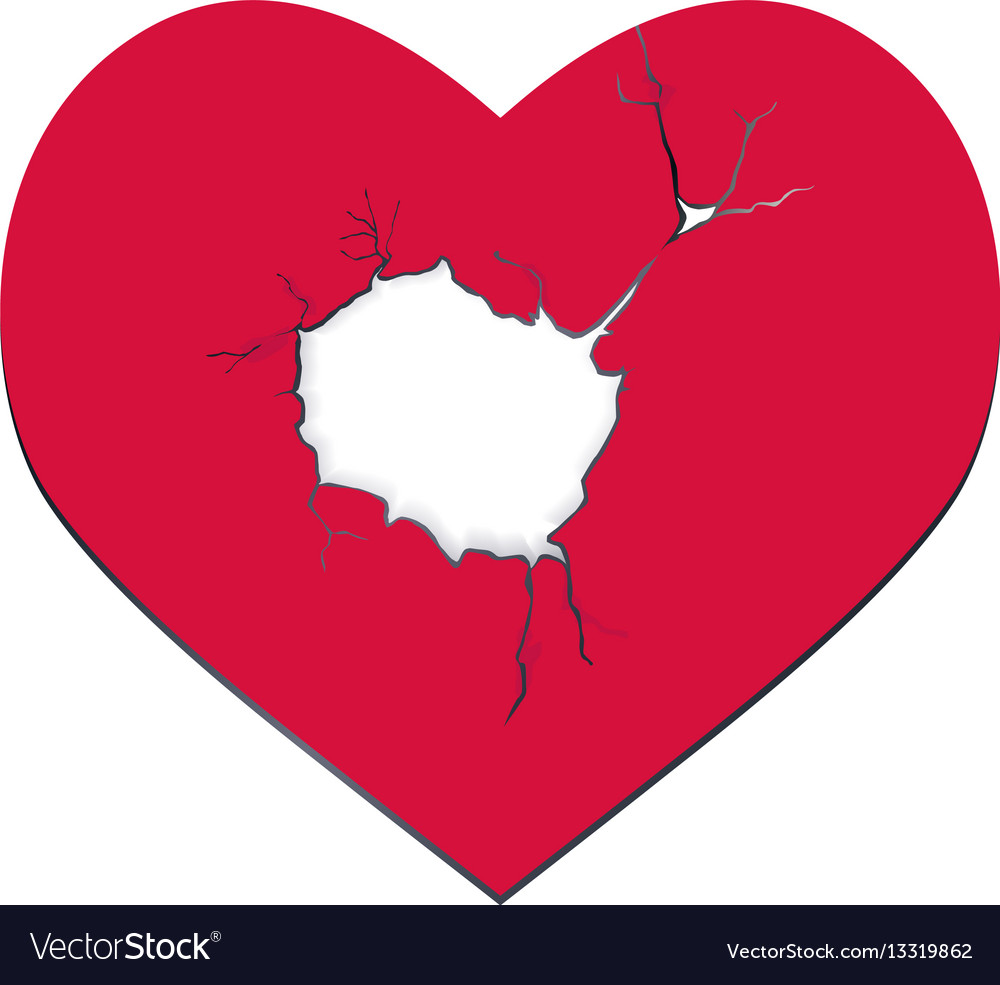 Heartbreak the red heart with a hole vector image