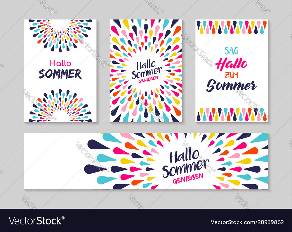 Hello summer german greeting card label set vector image m4hsunfo