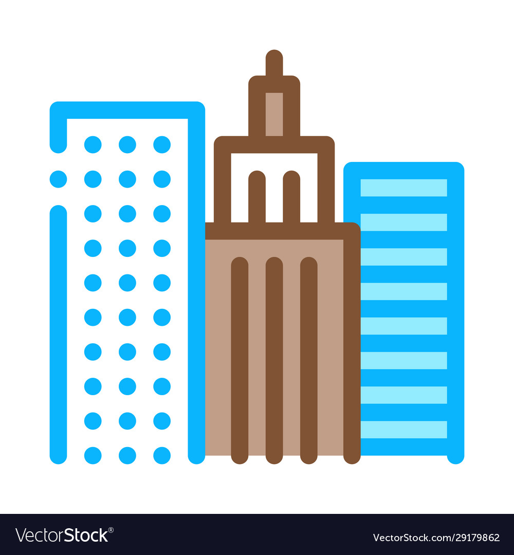 High-rise buildings view icon outline