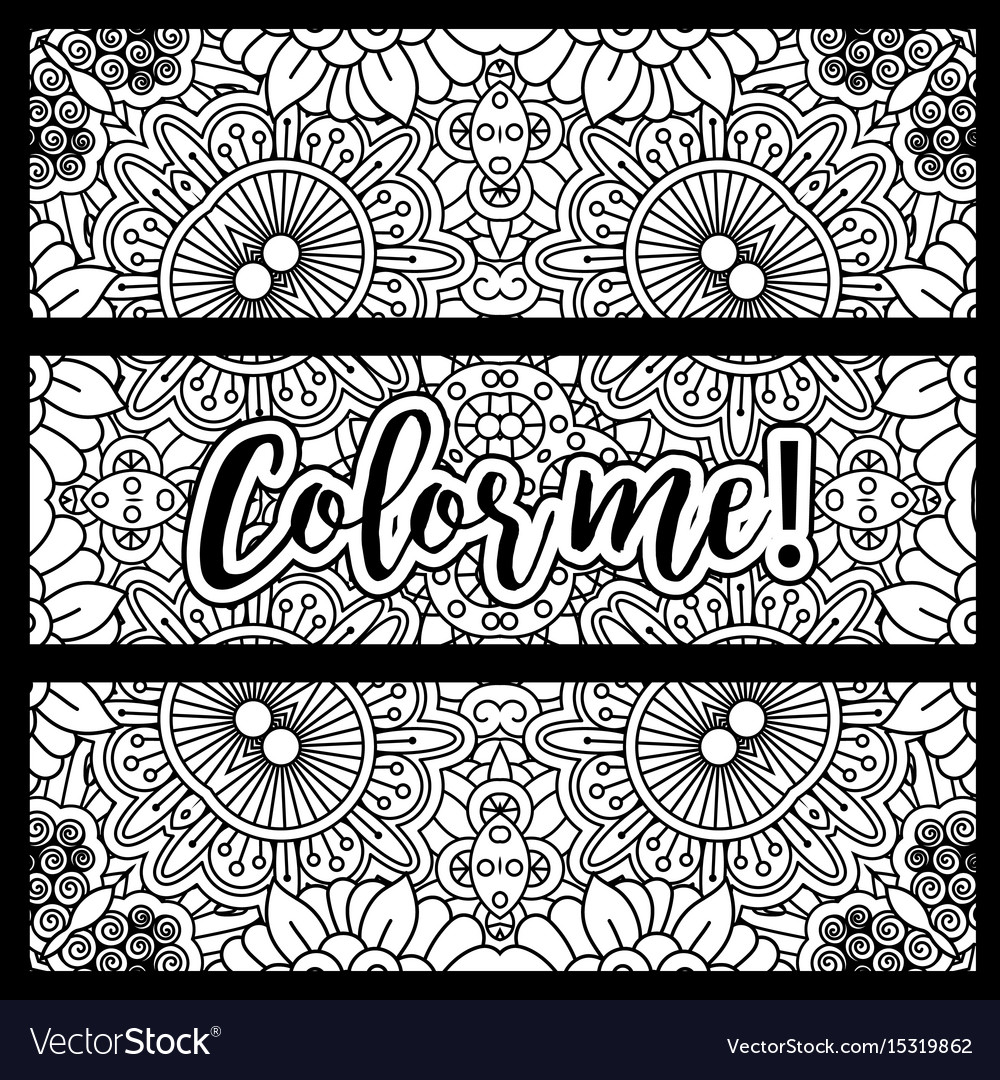 Horizontal flyers with coloring pattern vector image