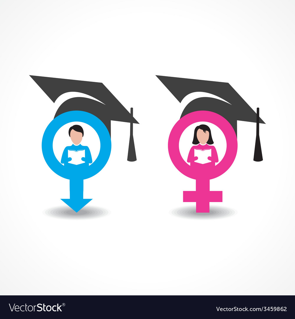 Male and female icons with graduate cap vector image