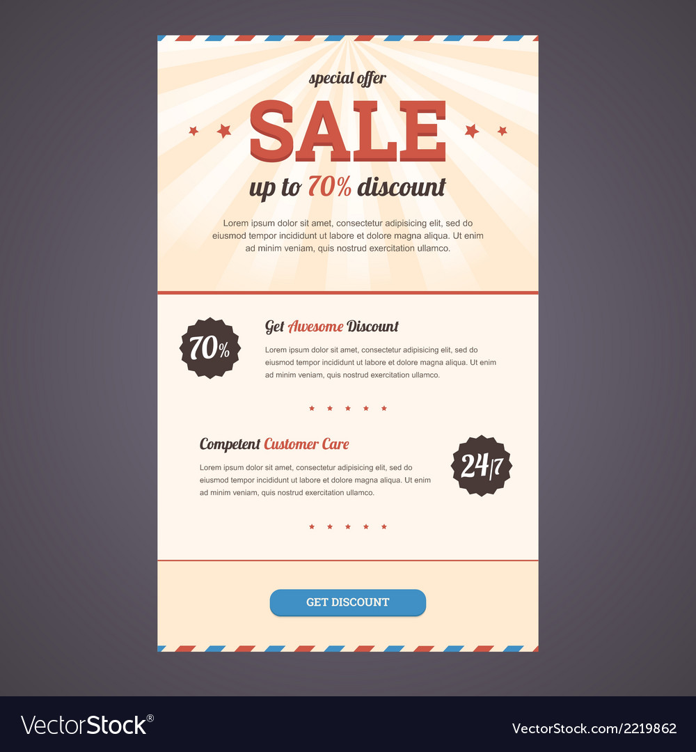 Newsletter template design with discount offer vector image spiritdancerdesigns Image collections