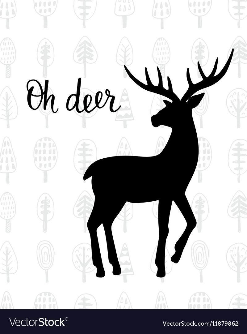 Oh dear Winter holidays hand drawn vintage deer