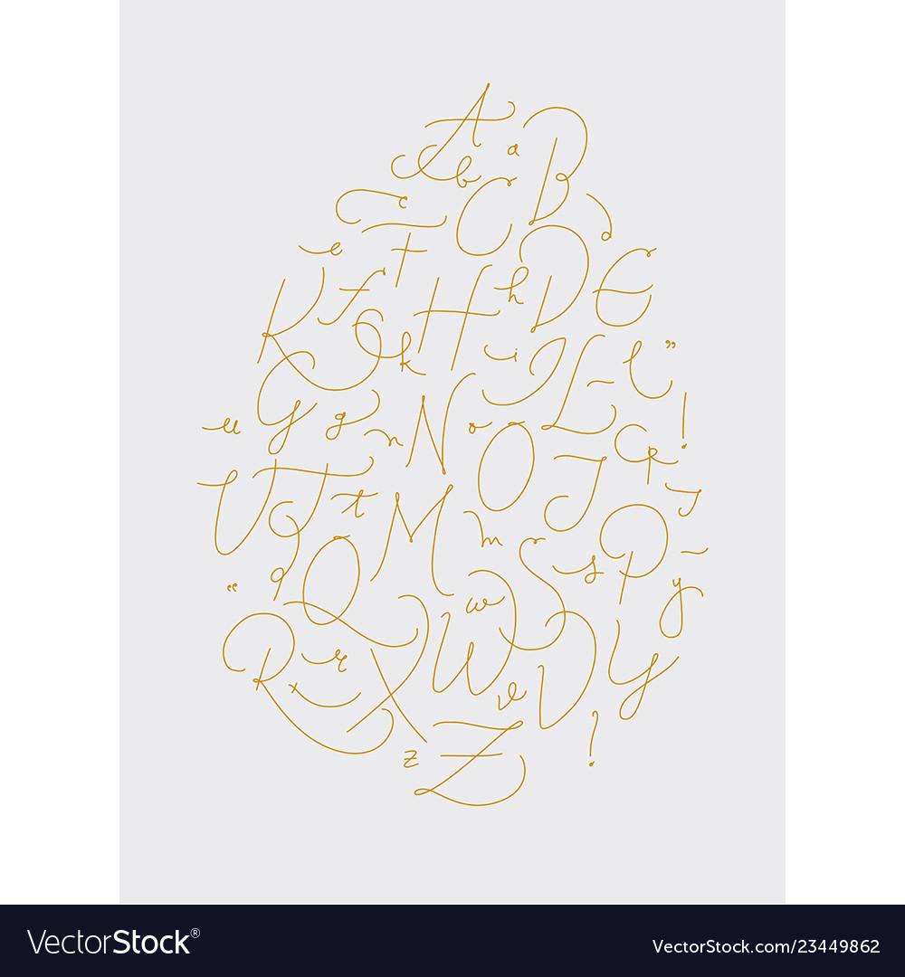 Pen line alphabet gold