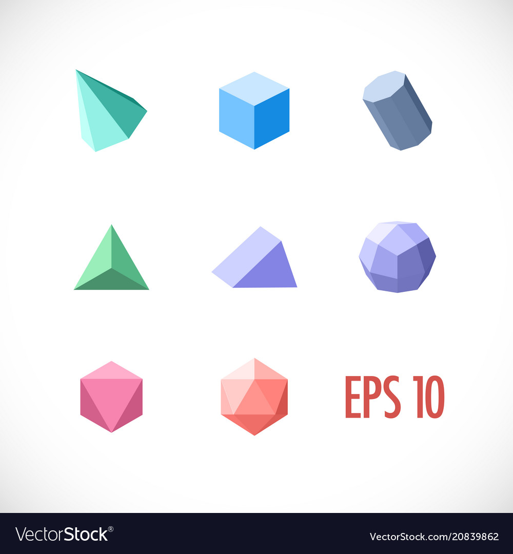 Polygon 3d objects set icons