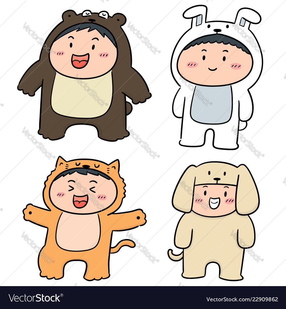 Set of kids wearing animal suits
