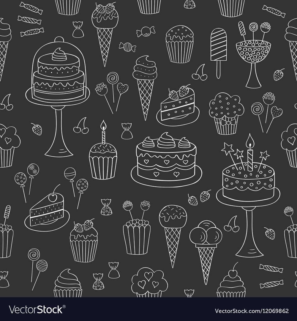 Sweets hand drawn doodle seamless