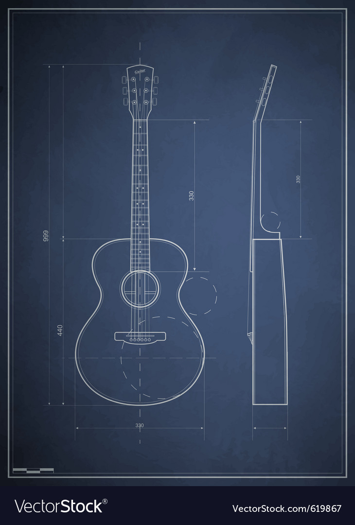 Blueprint drawing six acoustic guitar royalty free vector blueprint drawing six acoustic guitar vector image malvernweather Choice Image