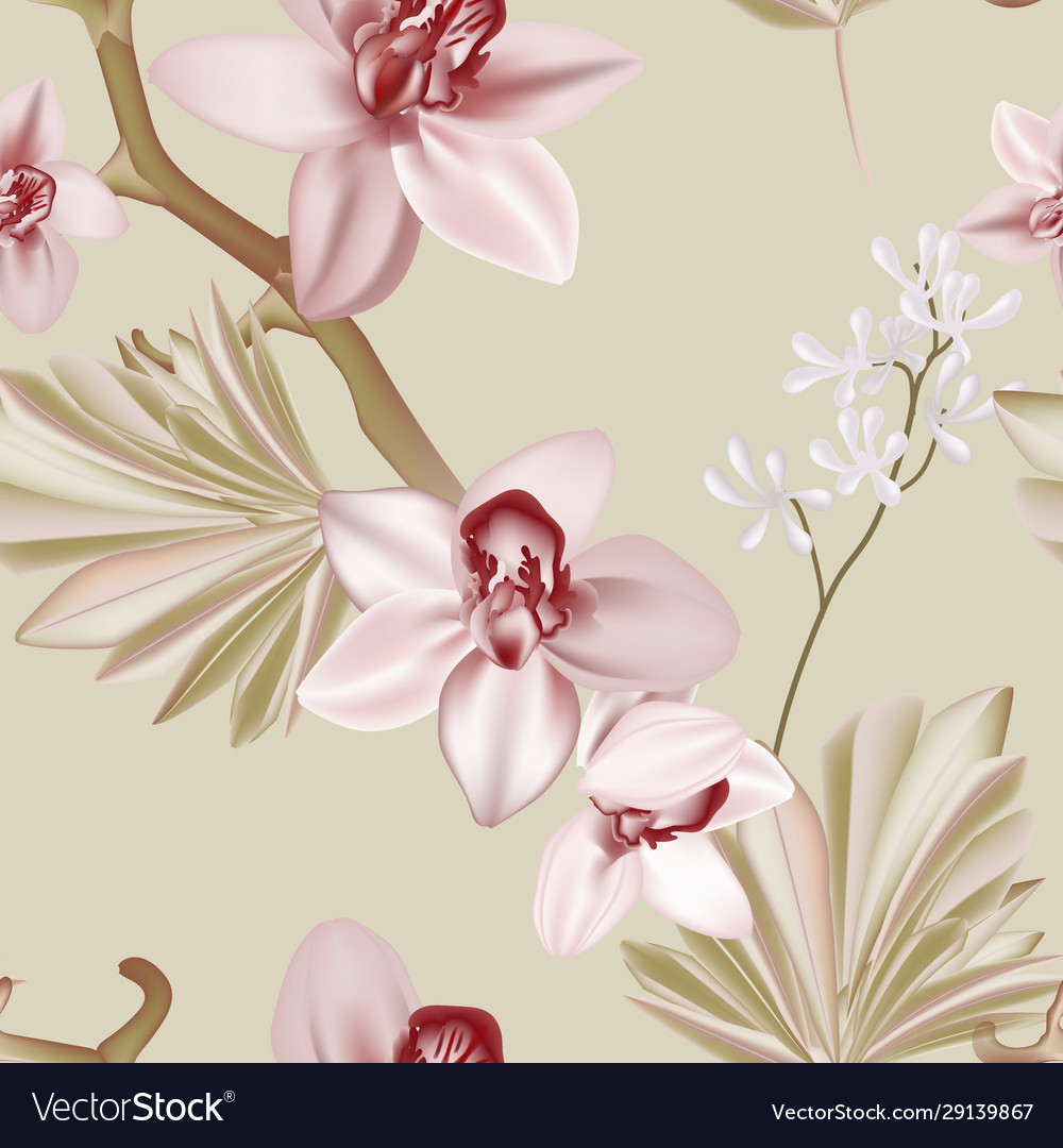 Floral boho style orchid soft green pink