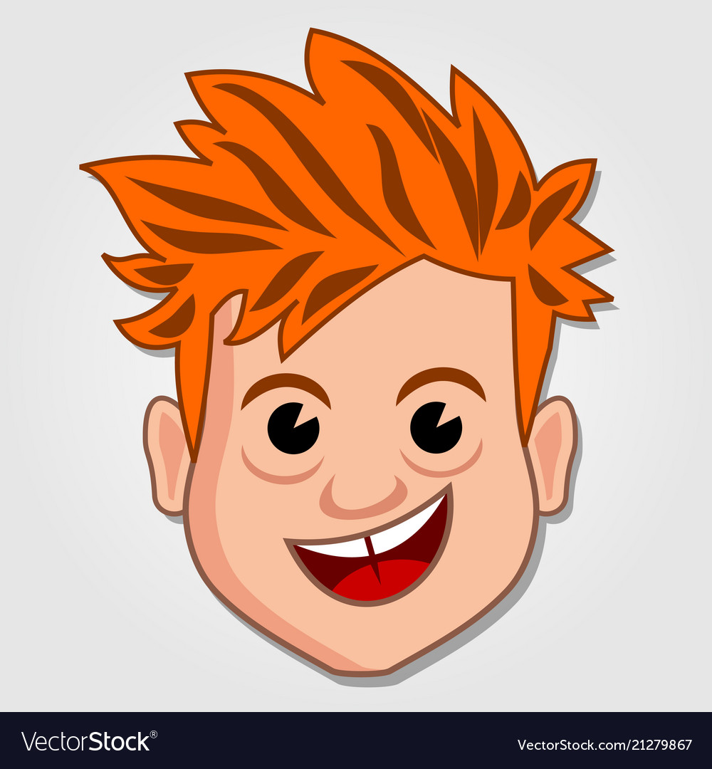 Funny cartoon boy face icon Royalty Free Vector Image