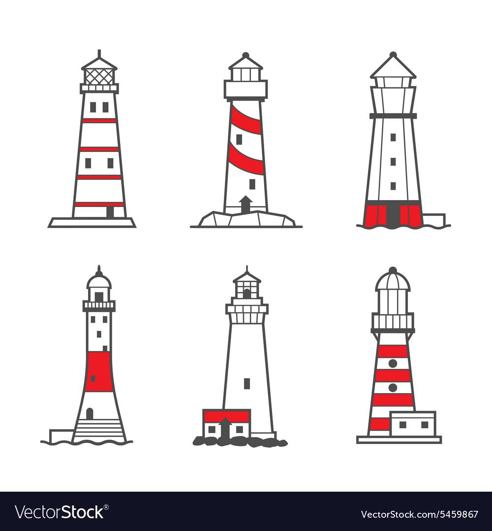 Icon or logo set of lighthouses