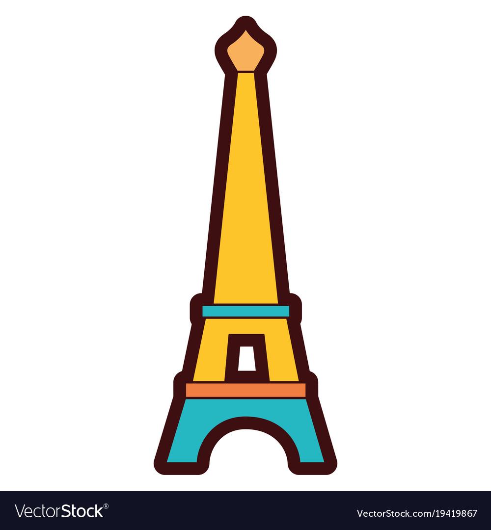 Eiffel tower color. Line paris journey vacation