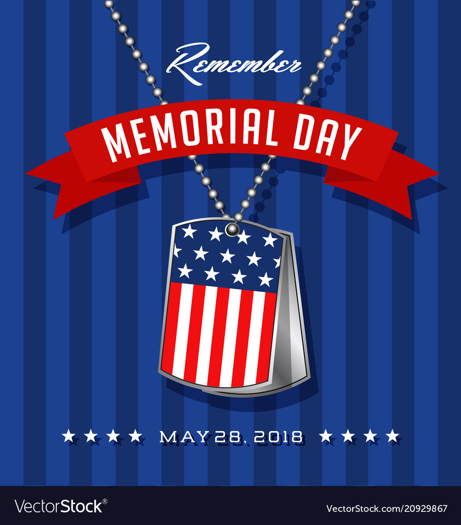 Memorial day card with soldiers dog tags