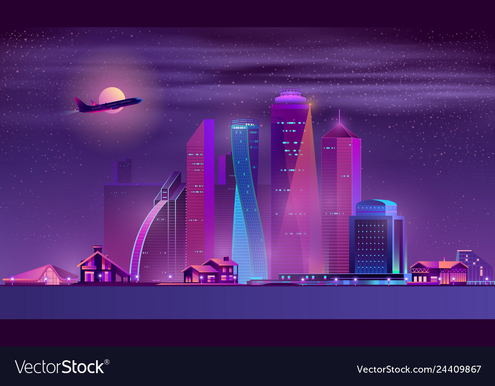 Neon megapolis background with buildings