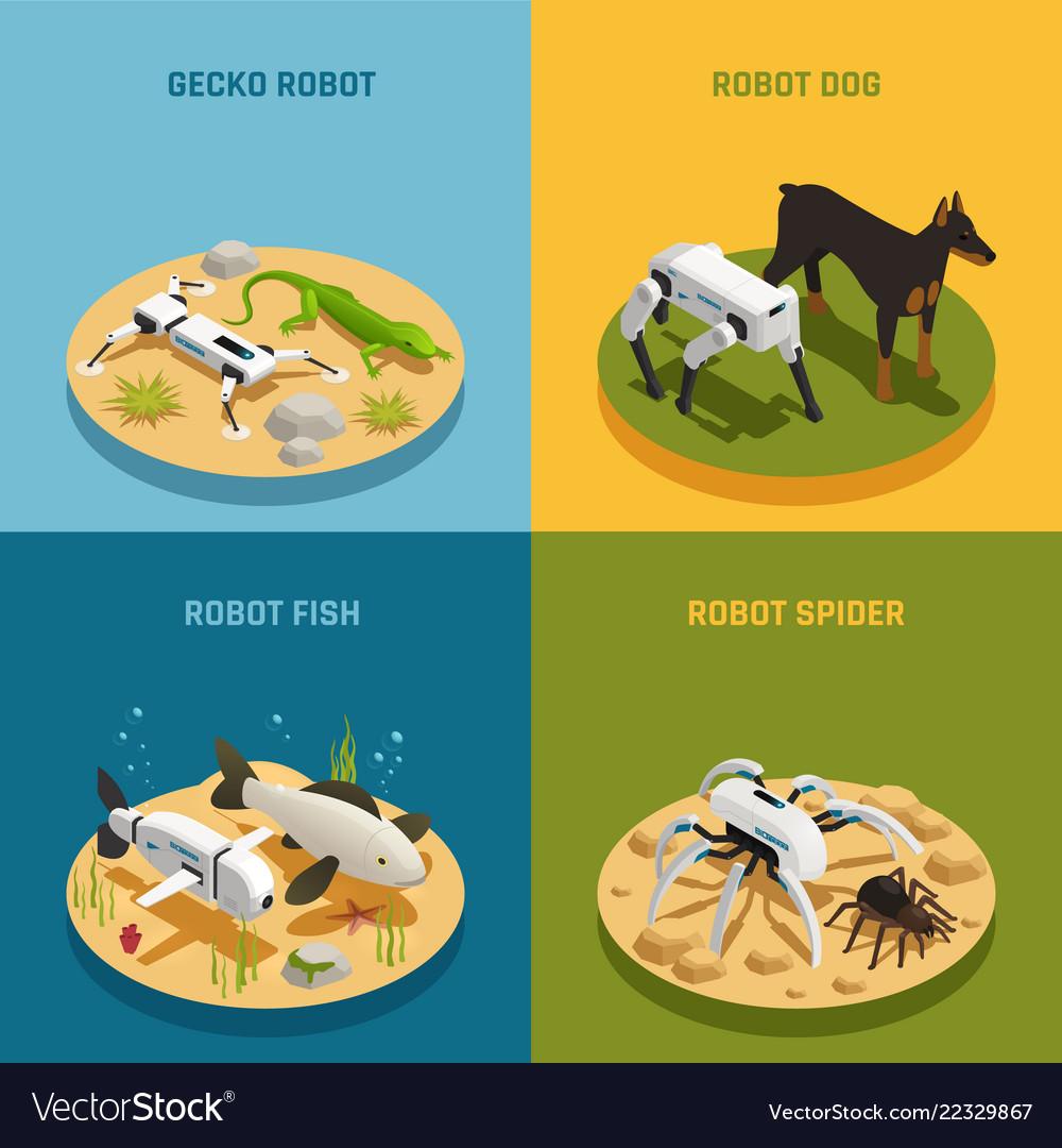 Robots animals isometric design concept