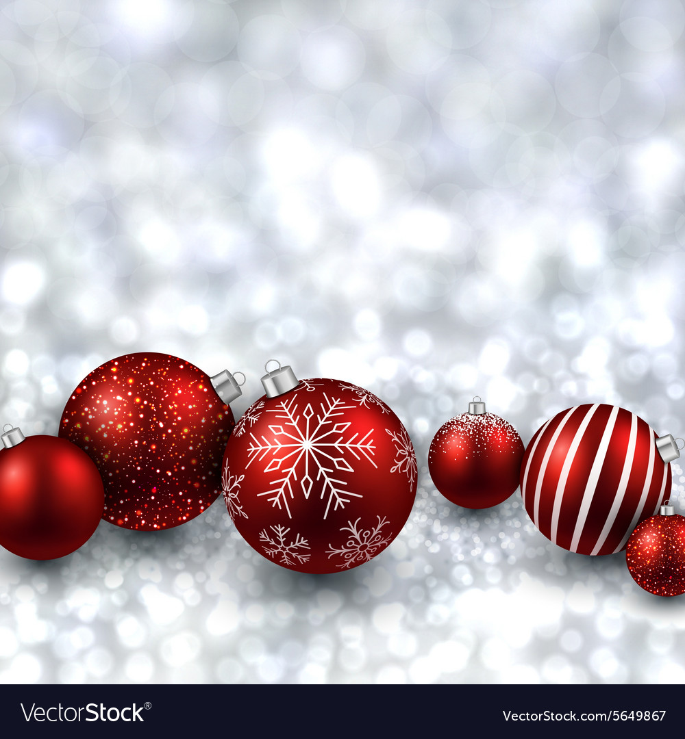 silver background with red christmas balls vector image - Red And Silver Christmas Ornaments
