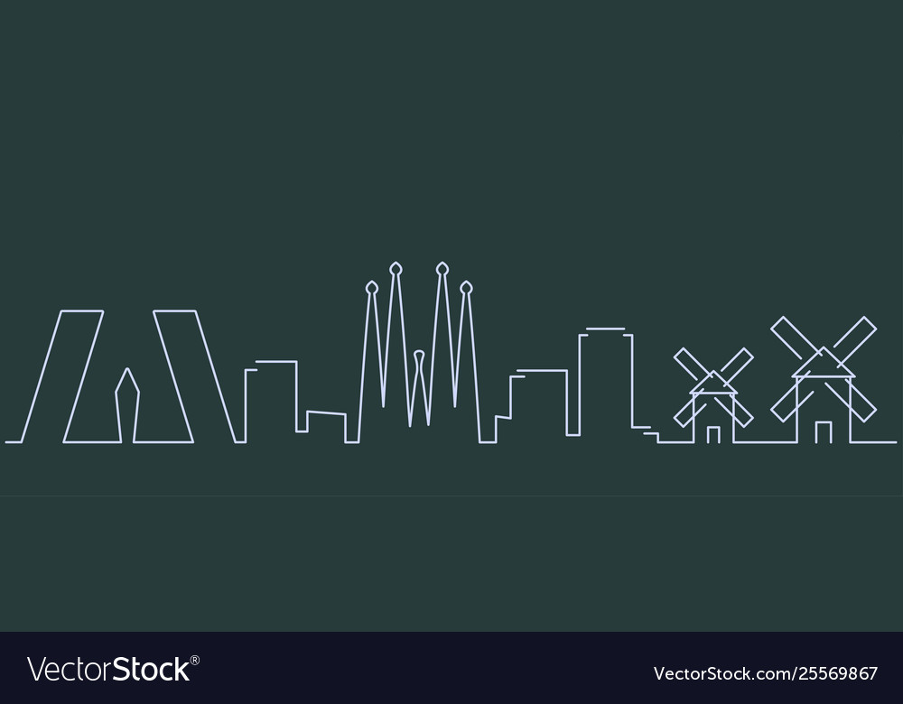 Spain simple line skyline and landmark silhouettes