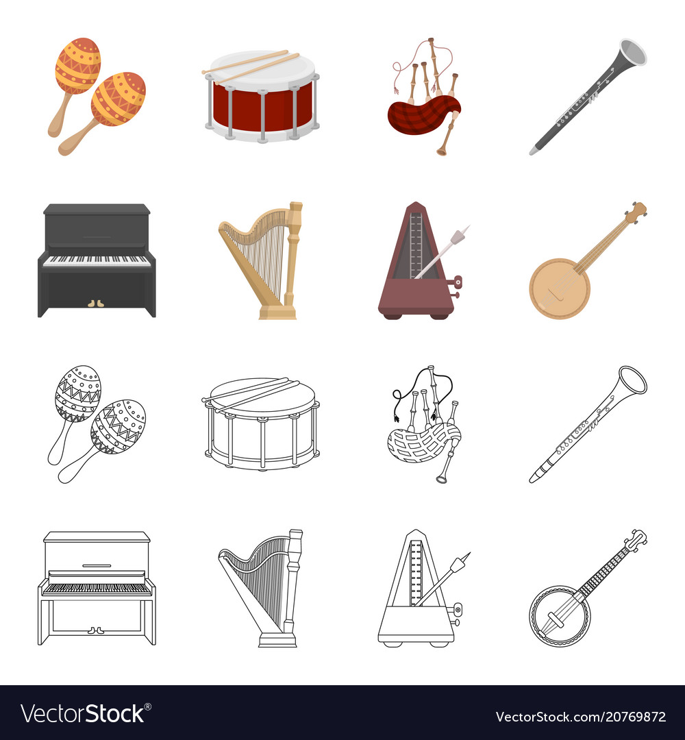 Banjo piano harp metronome musical instruments